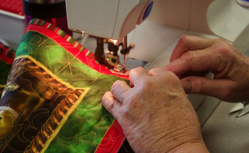 PMG PHOTO: CHRISTOPHER KEIZUR - Every quilt completed by Quilts of Valor is customized for the veteran receiving it.