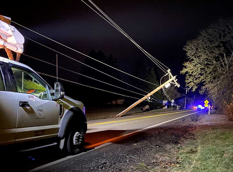 COURTESY PHOTO - A downed power pole closed Stafford Road for the better part of a day Dec. 18.