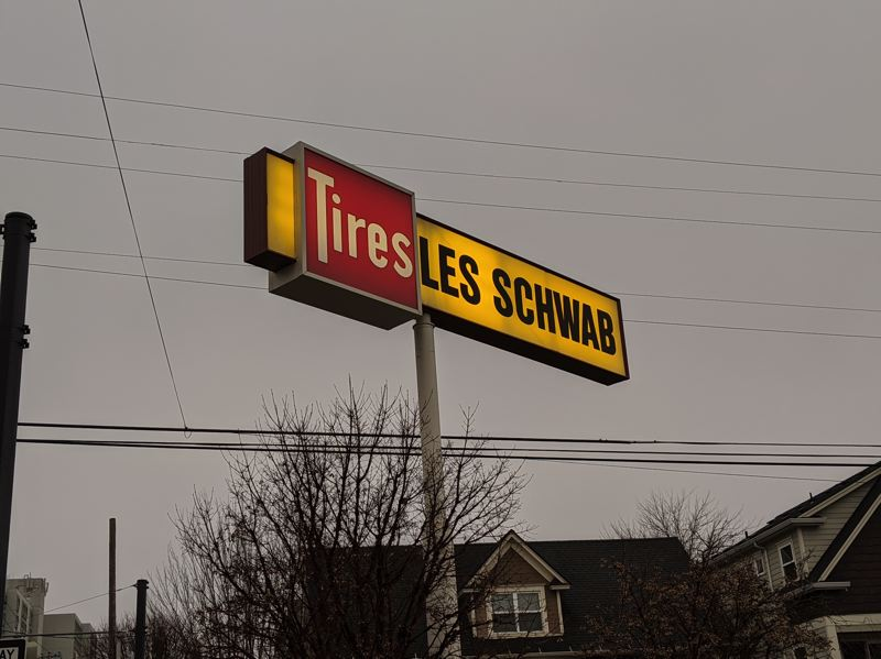 PMG: JOSEPH GALLIVAN  - Les Schwab Tires of Bend may be considering selling itself for $3 Billion. A sign at the Slabtown outlet on Christmas Eve.