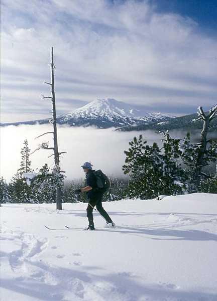 SCOTT STAATS SPECIAL TO THE CENTRAL OREGONIAN - A lone cross-country skier glides atop Vista Butte with Mount Bachelor in background. Discover Your Forest is offering free snowhoe, ski and snowboard interpretive programs with rangers through March.