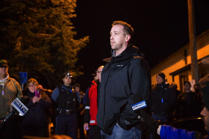 PMG FILE PHOTO - Jeff Cederberg, brother of wounded Oregon State Trooper Nic Cederberg, speaks to supporters and media at a vigil days after his brother was shot by a suspected murderer near Sherwood late on Christmas Day 2016.