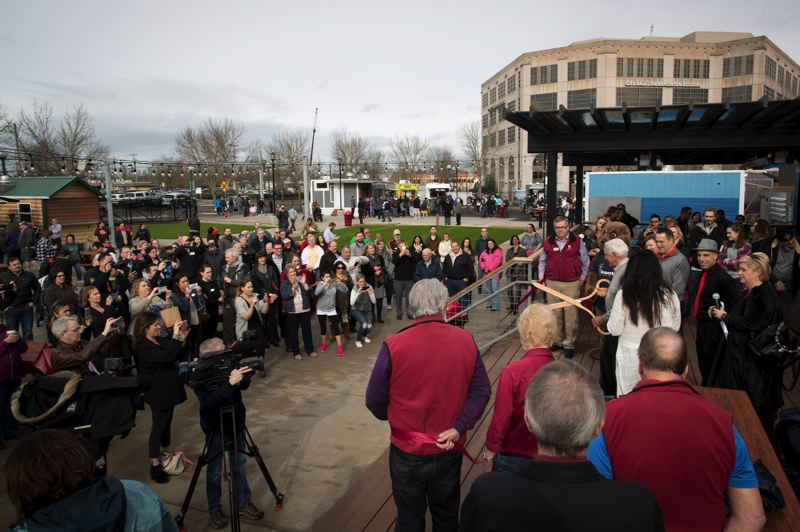 PMG FILE PHOTO - Crowds and cameras gather for the grand opening of BG Food Cartel on Feb. 2, 2018.