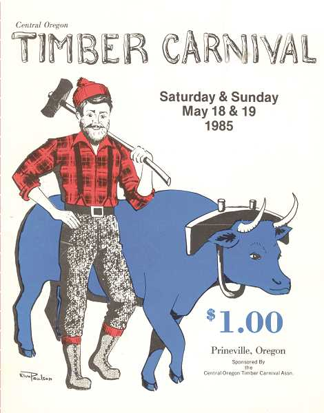 PHOTO COURTESY OF BOWMAN MUSEUM  - A Timber Carnival program from 1985 highlights the annual event held years ago.
