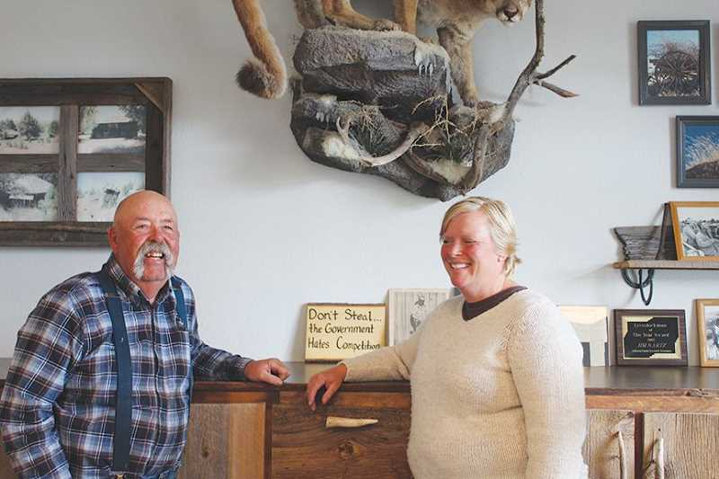 JANE AHERN/FOR THE PIONEER - Jody Nartz Holmes, right, runs the 27 Bar Ranch with her father, Jim Nartz., Madras Pioneer - News