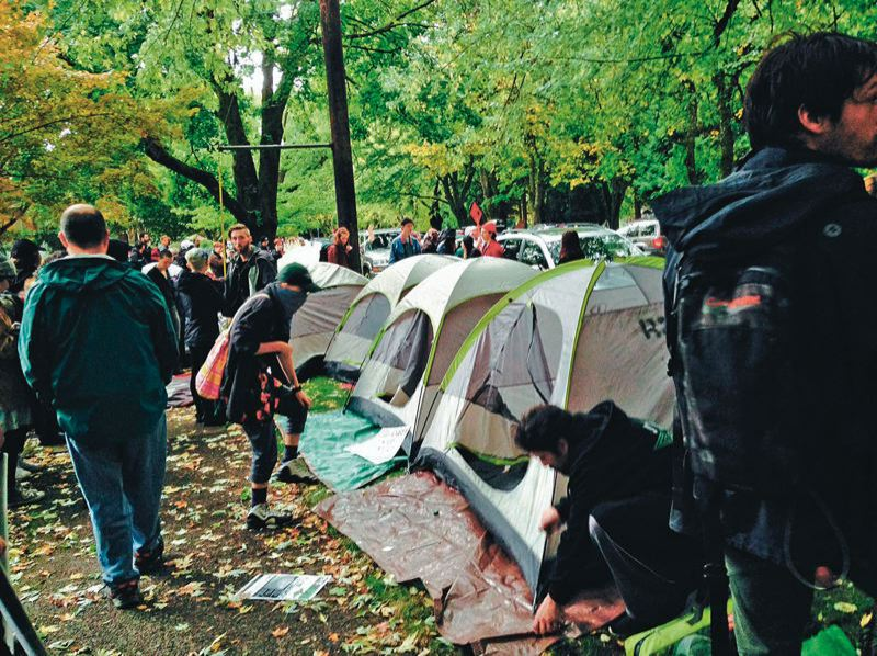 PMG FILE PHOTO - Occupy Portland tents in Chapman Square in 2011.