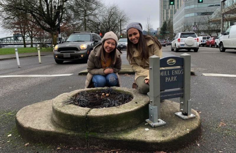 VIA KOIN 6 NEWS - Visitors at Mill Ends Park on SW Naito in Portland the day after the lone tree was cut down by someone unknown on Dec. 27.