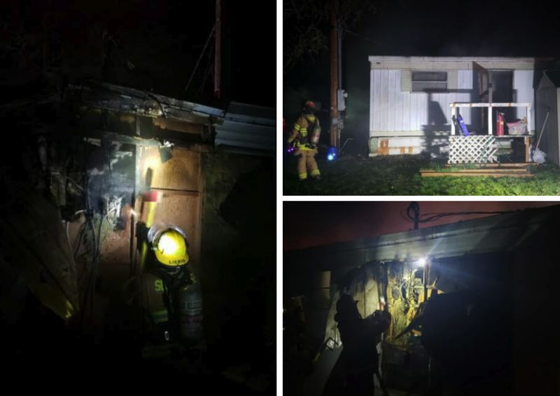 COURTESY PHOTOS - Local firefighters responded to a burning trailer on Branch Road on Saturday night.