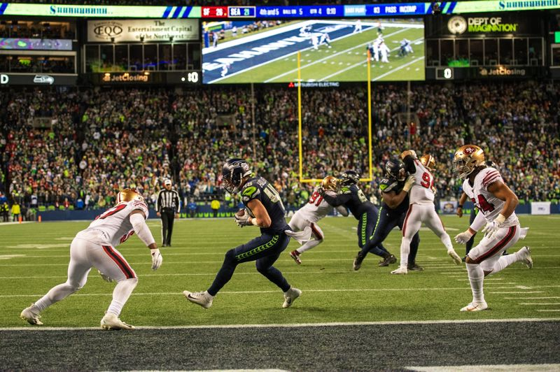 MICHAEL WORKMAN PHOTO - Jacob Holiister of Seattle catches a pass on the Seahawks' final offensive play Sunday against San Francisco.