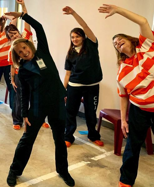 COURTESY PHOTO - Chris Trani leads a yoga class at the Clackamas County Jail in Oregon City.