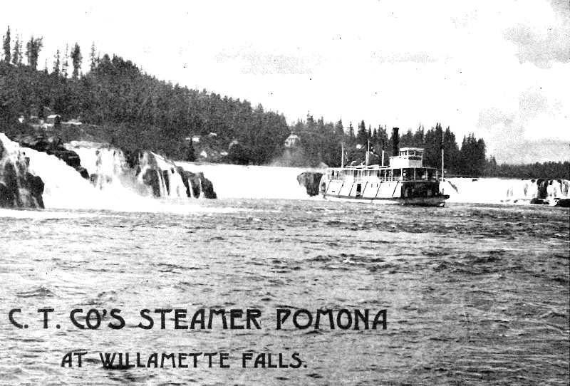 (IMAGE: OREGON HISTORICAL QUARTERLY) - Oregon City Transportation riverboat Pomona in a promotional image, just below Willamette Falls, circa 1899.