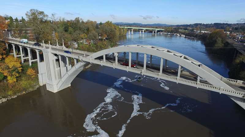 PMG FILE PHOTO - The historic Oregon City-West Linn Bridge was closed for two years during the last decade for a refurbishment.