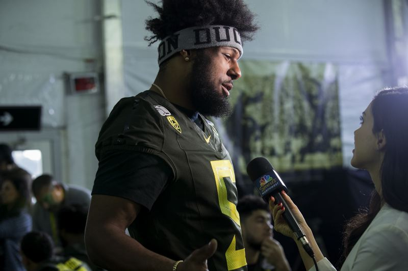 PMG PHOTO: JAIME VALDEZ - Kayvon Thibodeaux, Oregon's star true freshman defensive end, has always been in the spotlight, and he shines with all the attention.