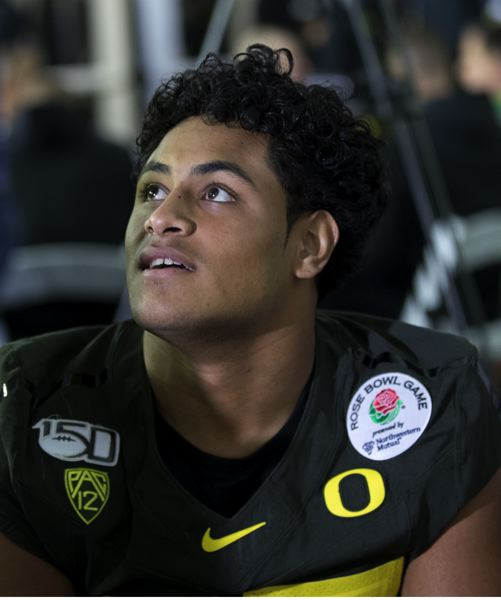 PMG PHOTO: JAIME VALDEZ - In any other year, Mase Funa would have been the prized true freshman player for Oregon. He's still an outstanding player at UO's 'Stud' position.