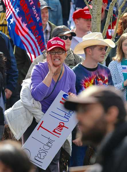 PMG FILE PHOTO  - Hundreds converged in Lake Oswego in support of or against President Trump during rallies in March 2017.