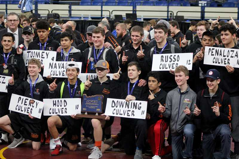 STEELE HAUGEN - The Culver wrestling program, under the helm of J.D. Alley,won its 12th state title in 13 years. Culver scored 136 points at the 2A State Wrestling Tournament to claim gold. Glide placed second behind Culver with 71 points. Alley was named both the 2A Wrestling Coach of the Year and the National Wrestling Coaches Association State Coach of the Year.