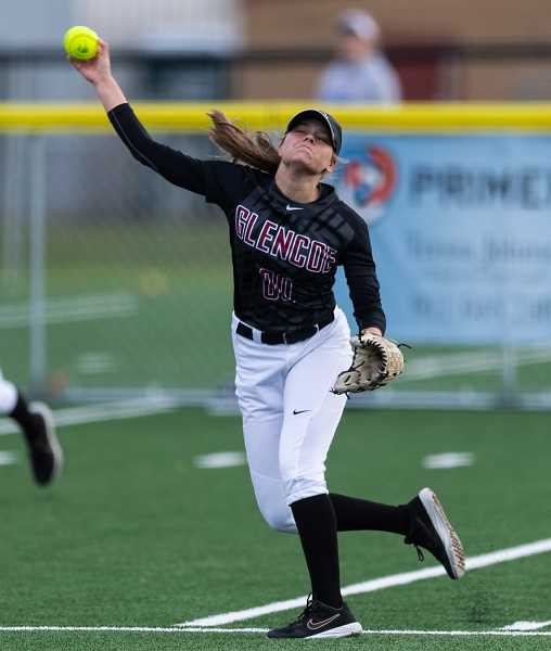 PMG PHOTO: CHRISTOPHER OERTELL - Glencoe's Jensen Becker during a game last season. Becker was the Pacific Conference Player of the Year and joined Dana Butterfield and head coach Jason Eastman to sweep the player, pitcher and coach of the year honors in the league.
