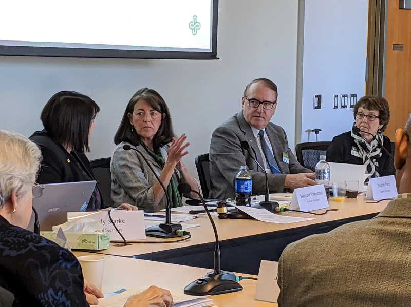 PMG FILE PHOTO - PSU President Stephen Percy (second from right) listens to input before a board vote in October 2019 on a controversial campus safety plan. The university board voted to keep its armed police officers, with enhanced oversight and training, following the 2018 death of Jason Washington.