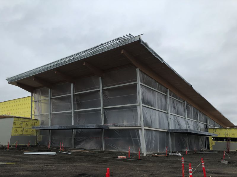 PMG PHOTO: STEPHANIE BASALYGA - The 89,000-square-foot building currently under construction will serve as the centerpiece of a plan to revitalize the Washington County Fair Complex in Hillsboro.