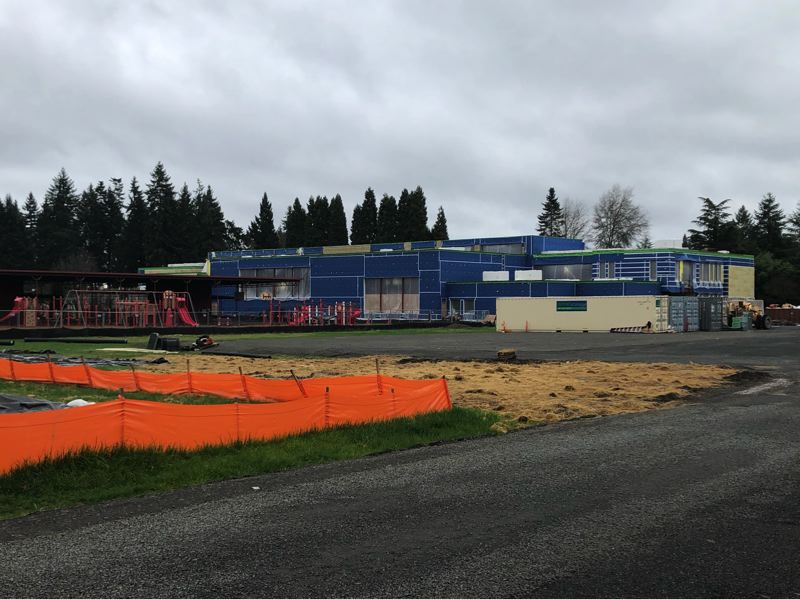 PMG PHOTO: STEPHANIE BASALYGA - The new 73,700-square-foot Brookwood Elementary School building in Hillsboro will feature separate gym and cafeteria areas that can be joined together to create a larger space for events and gatherings.
