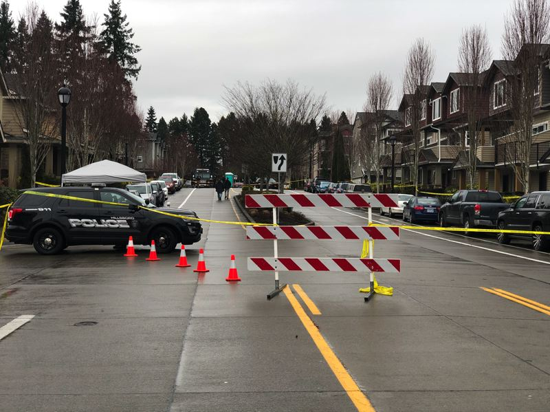 COURTESY PHOTO: HILLSBORO POLICE DEPARTMENT - Northwest Edgeway Drive in Hillsboro closed following officer involved shooting Thursday morning, Jan. 2.