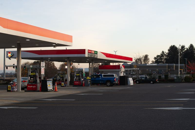 PMG PHOTO: ANNA DEL SAVIO - Gas stations in Scappoose, including Fred Meyer on Highway 30, will tack on a 3-cent-per-gallon charge to fuel purchases starting Jan. 1.