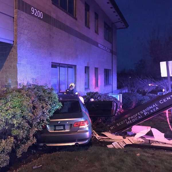 COURTESY PHOTO: CCSO - A BMW crashes into the Mt. Scott Professional Center Medical Plaza on New Year's Day.