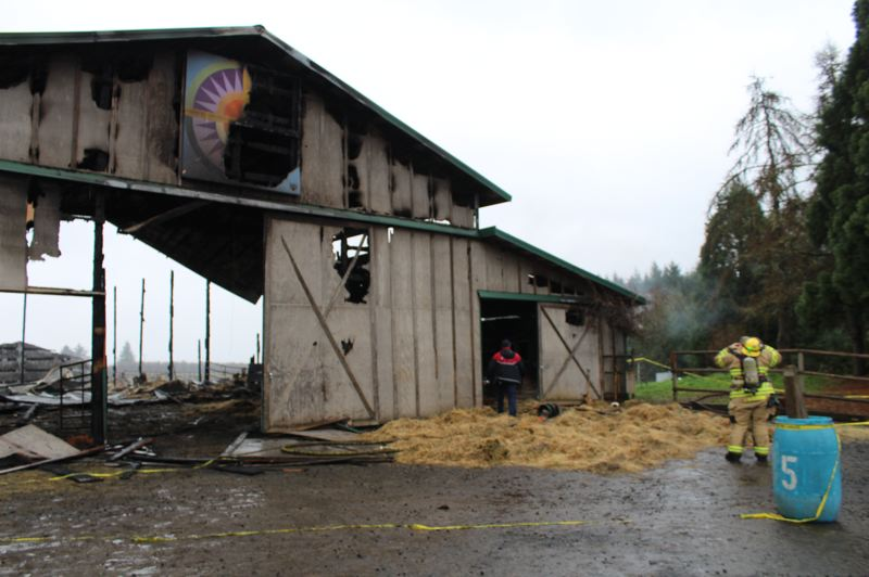 PMG PHOTO: MAX EGENER - A barn at A Blooming Hill Vineyard caught fire and was destroyed on New Year's Eve 2019.