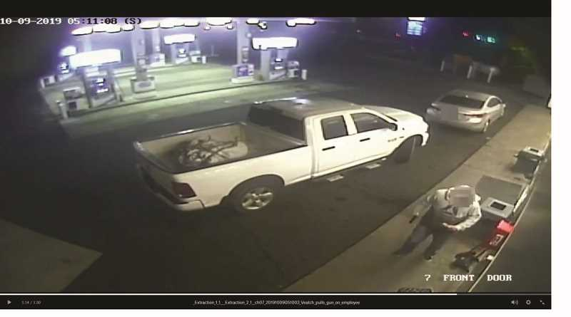 COURTESY OF THE CITY OF ST. HELENS - A screenshot of video taken from the Chevron  fuel station on Highway 30, where Michael Veatch, 33, of Washington pulled a gun on a fuel station attendant, leading to a shooting spree through the city and along the highway.