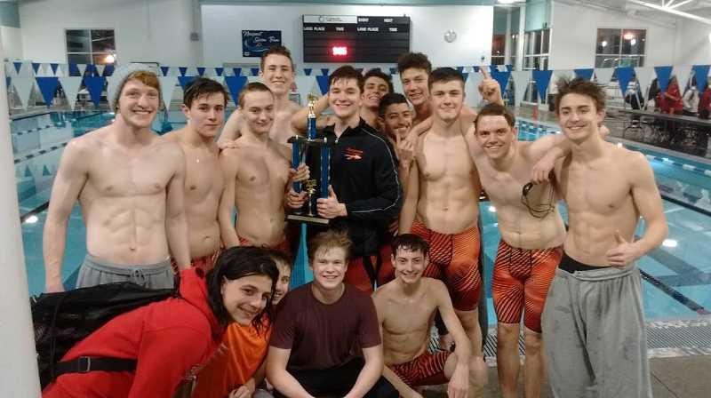 COURTESY PHOTO: DAVE RICHMOND - The Scappoose boys swimming team won the Newport Invitational for the first time in program history.