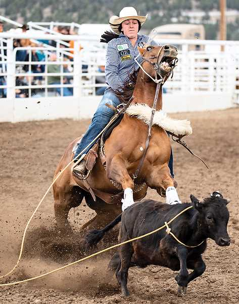 CENTRAL OREGONIAN FILE PHOTO - Hope Luttrell, shown competing in the 2018 Oregon HIgh School Rodeo Finals, placed second in the 19U breakaway roping at the Junior World Rodeo Finals, which were held in Las Vegas, Nevada, in conjunction with the National Finals Rodeo.