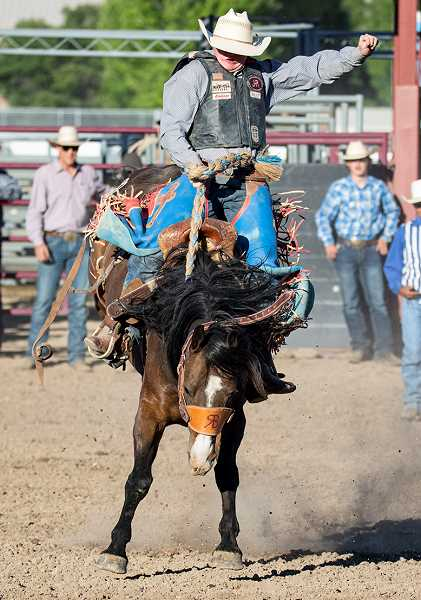CENTRAL OREGONIAN FILE PHOTO - Deaglan Lundquist of Powell Butte makes a run at the Oregon State Finals Rodeo this past June. Lundquist recently qualified for the Junior World Rodeo Finals, where he placed 10th in the novice saddle bronc competition.