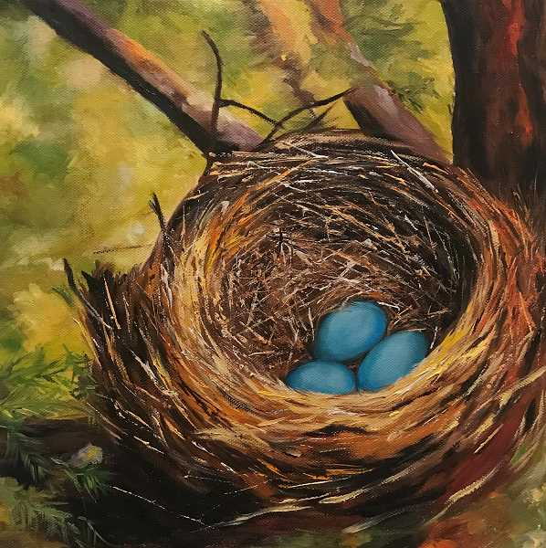 COURTESY PHOTO - This oil painting by Marina Mar is one of several on exhibit at IM=X Pilates in Lake Oswego through April painted by students of local artist Julia Armstrong Peltz.