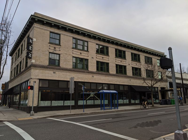 PMG PHOTO: JONATHAN HOUSE - After: The exterior of the new KEX Hotel at MLK and Couch, housed in a former apartment building behind Stark's Vacuums. The 29-room hostel/hotel aims to lure budget travelers and locals to its shared dorms and stylish Icelandic bar/restaurant.