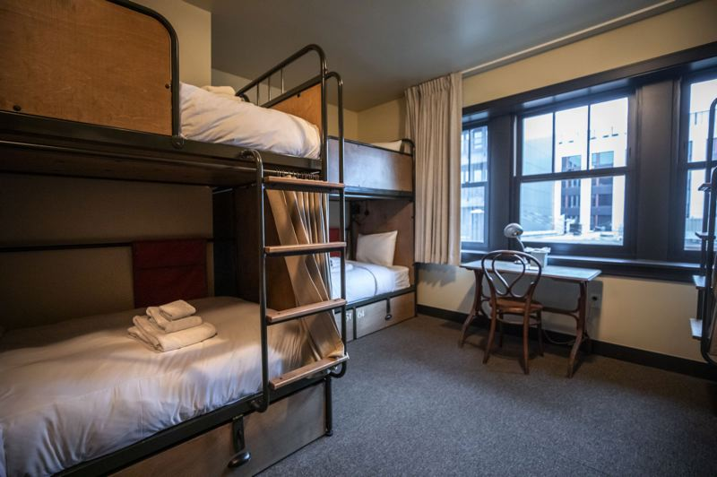 PMG PHOTO: JONATHAN HOUSE - One of the dorm rooms at KEX Hotel. Some groups rent the whole thing so as not to have to share with strangers.