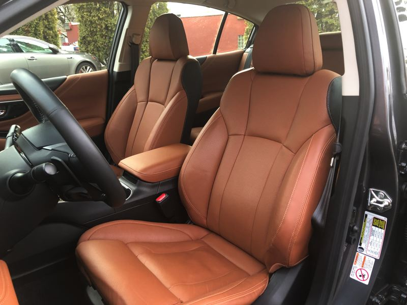 PMG PGOTO: JEFF ZURSCHMEIDE - Smooth interior leather with heated and ventilated front bucket seats give occupants a premium experience in the 2021 Subaru Legacy.