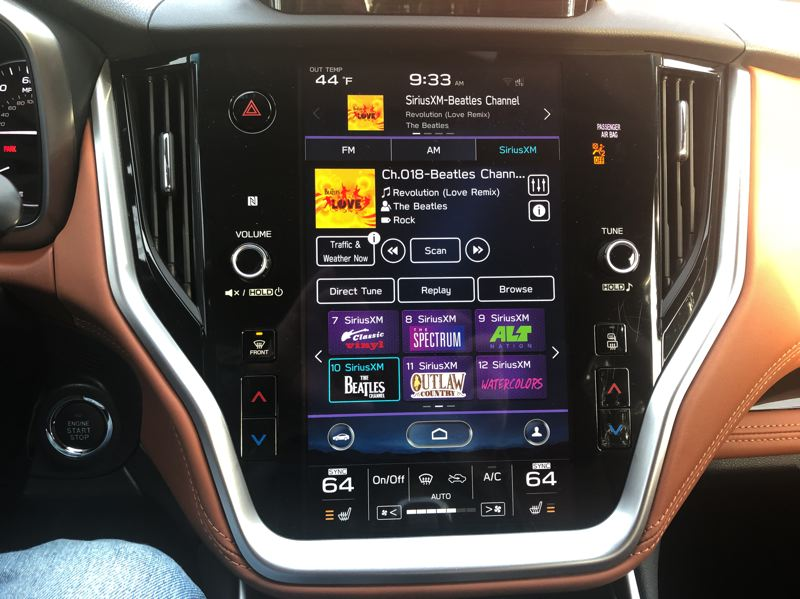 PMG PHOTO: JEFF ZURSCHMEIDE - The base Legacy gets a 7-inch touchscreen, but every other trim  level comes with an extra-large 11.6-inch infotainment touchscreen that is easy to see and understand.