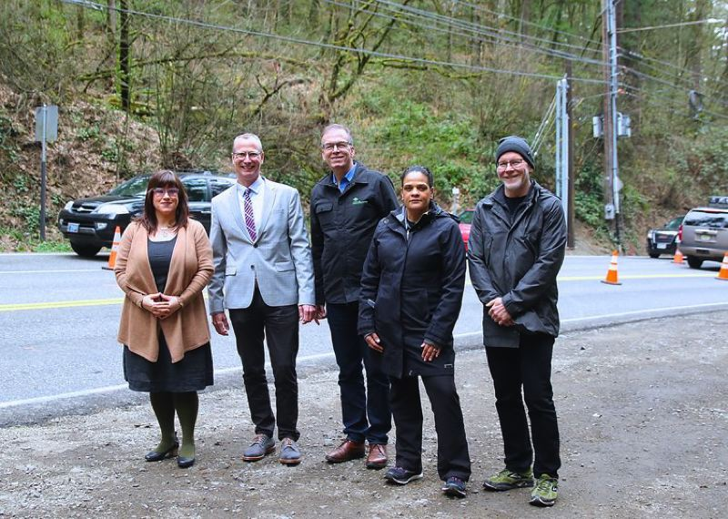 COURTESY METRO - Metro Councilor Sam Chase, second from left, was a former chief of staff to late Portland Commissioner Nick Fish, center. Metro, the Portland Parks Foundation, PBOT and Portland Parks and Recreation worked to close a significant gap in Wildwood Trail with the development of the Barbara Walker Crossing over West Burnside Street, which opened last year.