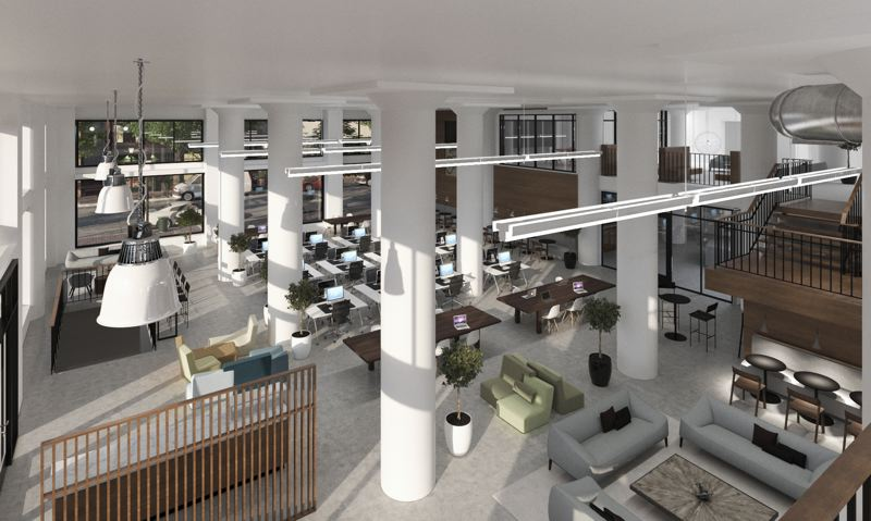 COURTESY: URBAN RENAISSANCE GROUP - Interior improvements in the future J.K Gill Building include a new 800-square-foot skylight on the top floor and an expanded and renovated ground-floor lobby with a decor that will pay tribute the building historic ties to the books and stationery.