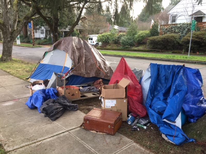 SUBMITTED PHOTO - A homeless camp at Northeast 27th Avenue and Holman Street in Portland.