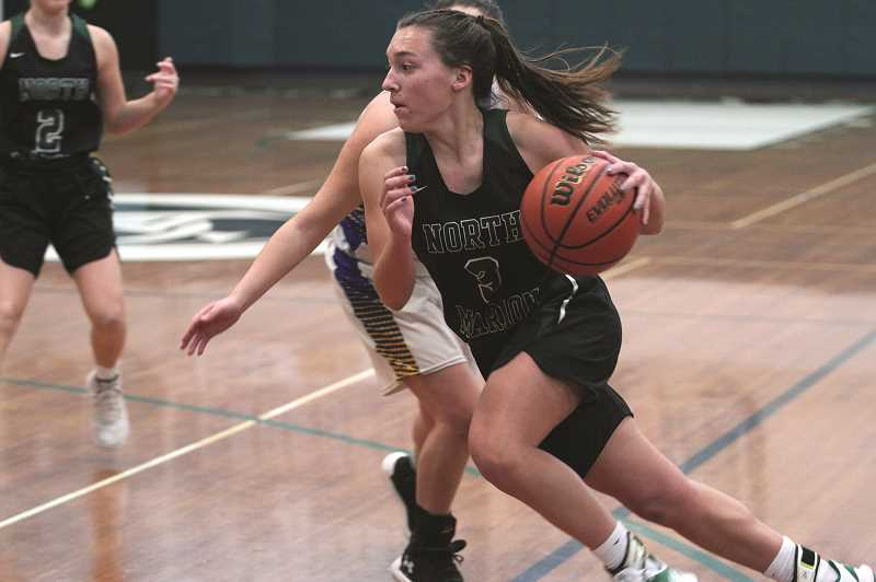 PMG PHOTO: PHIL HAWKINS - North Marion junior Mya Hammack and the Huskies ended their first four-game losing streak since 2015 by winning three straight in the Black Bracket of the Crusader Classic New Years Invitational over the weekend.