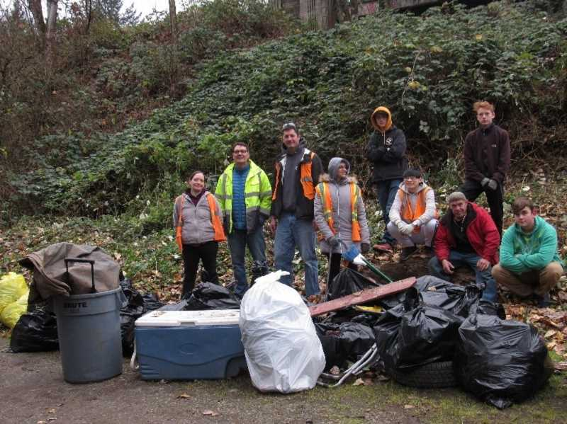 COURTESY PHOTO - Over 8,000 pounds of litter were removed by Rivers of Life Center and Clackamas Community Corrections in Clackamette Cove.