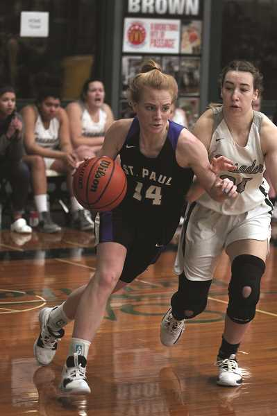 PMG PHOTO: PHIL HAWKINS - St. Paul senior Isabelle Wyss led the Buckaroos with 18 points against Burns and 13 against Salem Academy.