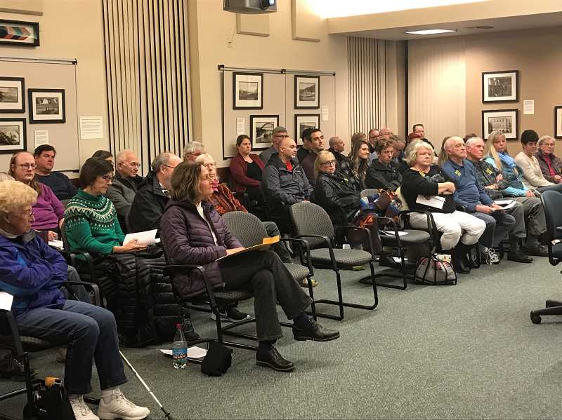 PMG PHOTO: HOLLY BARTHOLOMEW - The West Linn City Council heard testimony from over a dozen citizens before voting 3-2 to terminate its contract with City Manager Eileen Stein.
