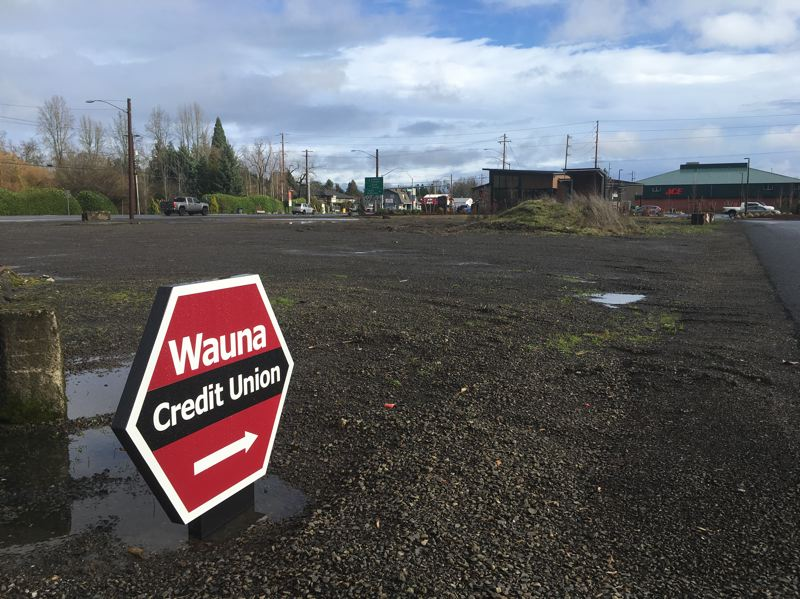 PMG PHOTO: MAX EGENER - The new Wauna Credit Union in Forest Grove was constructed on a property that has been vacant for nearly twenty years, and surrounding properties remain vacant.