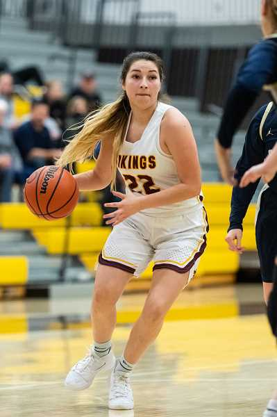 PMG PHOTO: CHRISTOPHER OERTELL - Forest Grove's Kayleen Dominguez during a Vikings game earlier this season at Forest Grove High School. Dominguez has been one of a handful of key contributors for a Forest Grove team off to an 8-2 start.