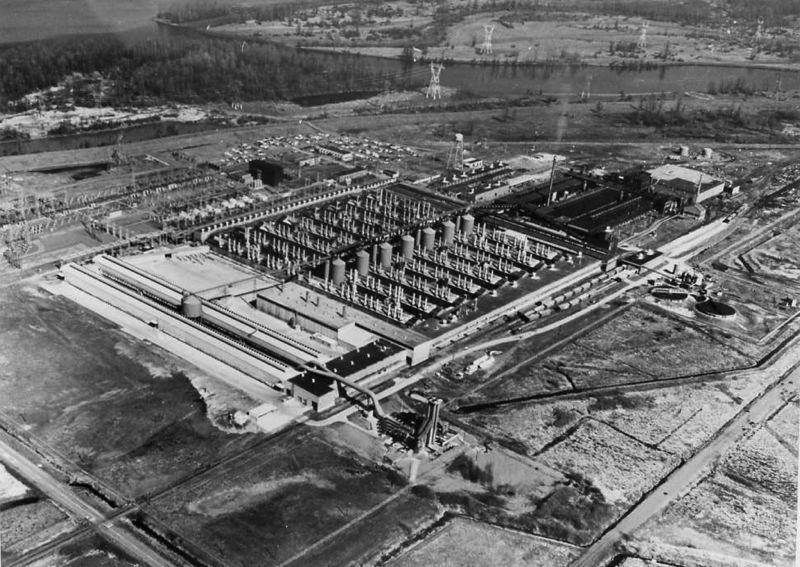 ARCHIVE PHOTO - Seventy years ago Reynolds Metals brought the aluminum reduction plant at Troutdale, as well as three other Northwest aluminum plants, with a plan to turn the war-time plants to domestic products, such as aluminum foil. The plants is gone now, replaced by FedEx and Amazon shipping facitlies.