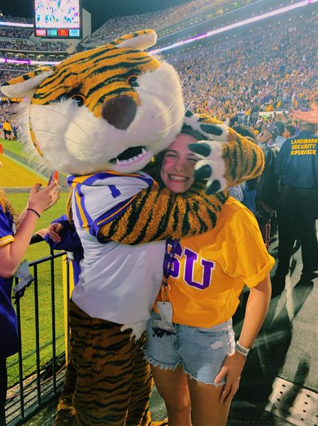 COURTESY PHOTO - Abby Maoz attended an LSU football game during her visit in October.