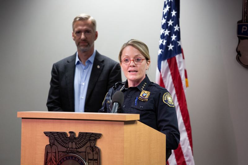 PMG PHOTO: ADAM WICKHAM - New Portland Police Chief Jami Resch told reporters Monday, Jan. 6, that she plans to continue the bureau improvements begun by former Chief Danielle Outlaw.