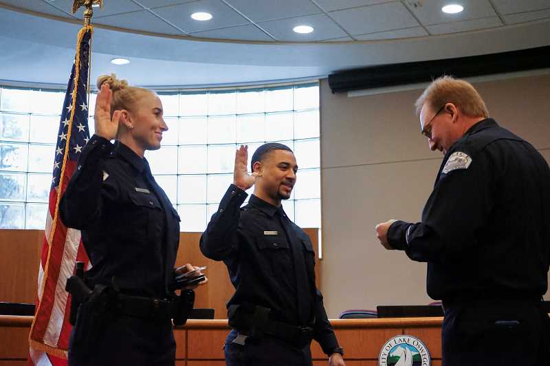 PMG PHOTO: CLARA HOWELL  - Shayla Ball and Dashon Panetta-Hunt were officially sworn in as officers Jan. 7.