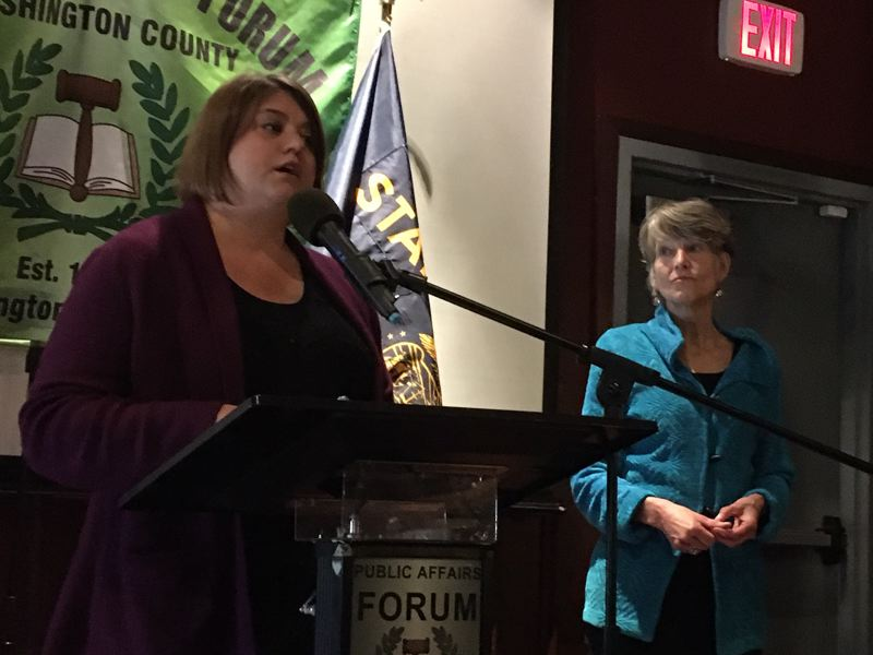 PMG FILE PHOTO - Danielle Hunsaker, presiding judge of Washington County Circuit Court, and Oregon Chief Justice Martha Walters spoke about court issues during a Washington County forum.